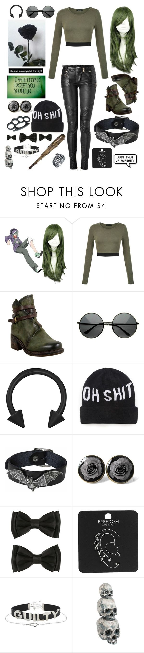 """Just Shut Up Already"" by headphones-girl ❤ liked on Polyvore featuring A.S. 98, GET LOST, Balmain, Dimepiece, Barbed, Hot Topic, Topshop, Ganz and Bling Jewelry"