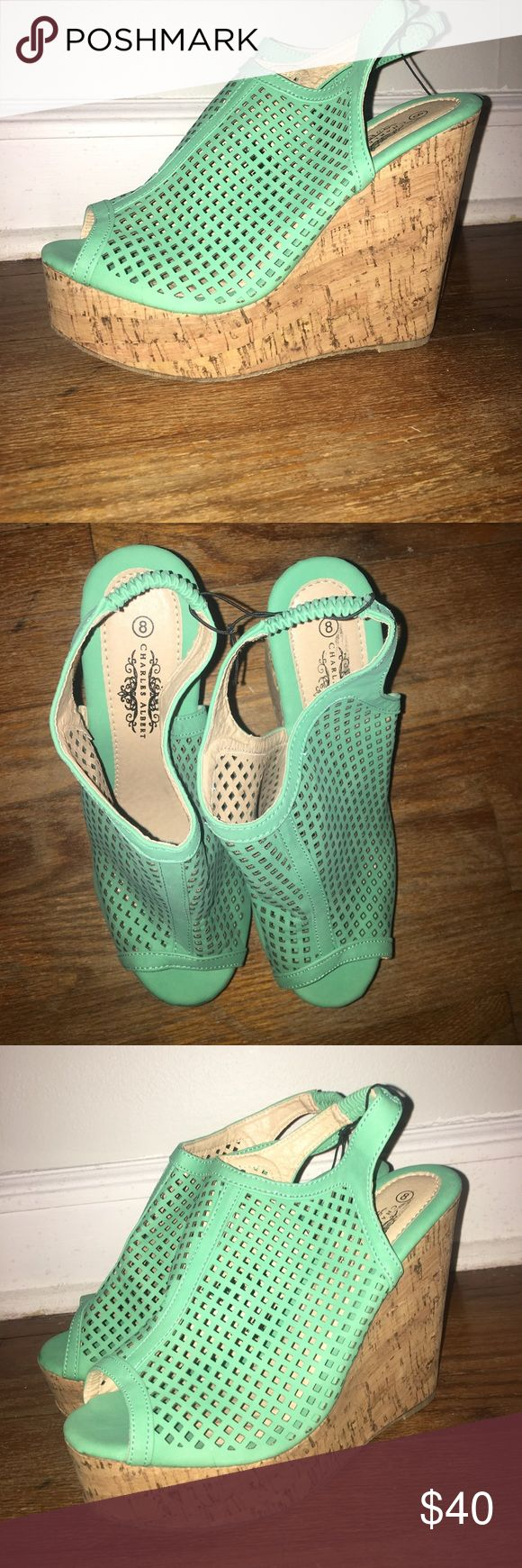 Charles Albert turquoise wedges brand new, never worn, women's size 8, 4 inch heel Shoes Wedges