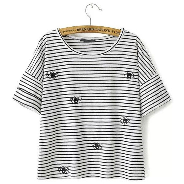 SheIn(sheinside) Black White Striped Eye Embroidered T-Shirt (£7.45) ❤ liked on Polyvore featuring tops, t-shirts, shirts, tees, blusas, black, cotton t shirt, embroidered t shirts, black short sleeve shirt and black t shirt