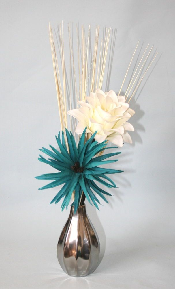 artificial flowers teal cream silk flower arrangement in small vase modern - Silk Arrangements For Home Decor