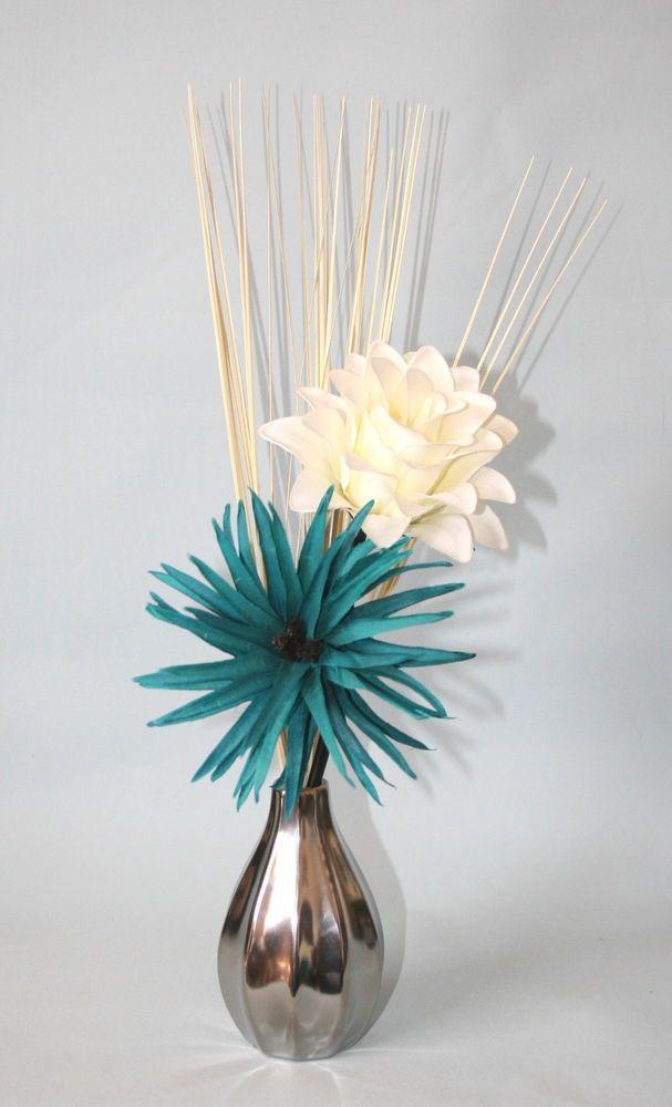Artificial Flowers - Teal & Cream Silk Flower Arrangement in Small Vase Modern in Home, Furniture & DIY, Home Decor, Dried & Artificial Flowers | eBay
