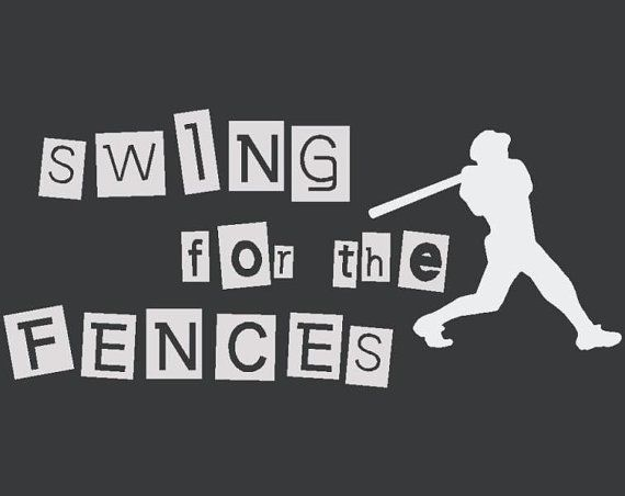 Swing For The Fences Vinyl Wall Sports Decal by Wall Decals by Greene's vinyl. Greenesvinyl@gmail.com to order.