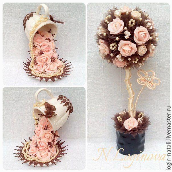 """Купить Набор """"Шоколадное крем-брюле"""" - разноцветный, топиарий, топиарий дерево счастья"""