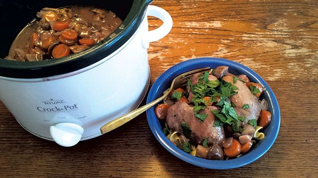 Slow Cooker Coq au Vin, recipe from Nicole Grenier, Stowe Street Café, Waterbury, VT