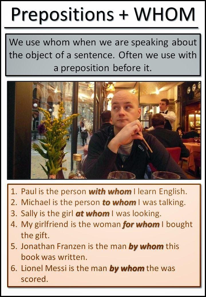 Prepositions with Whom #esl #tefl #learnenglish