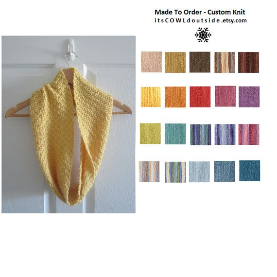 Pick your colour >>Made To Order  Spring Scarf  Wool Blend Cowl  by www.itsCOWLdoutside.etsy.com  #spring  #custom  #handmade
