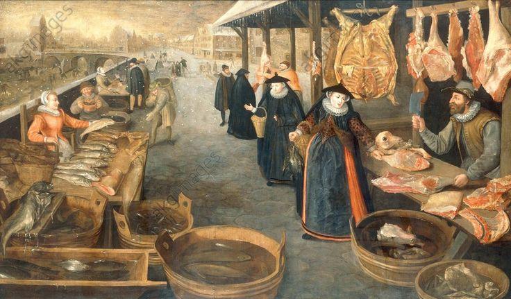 Stoskopff, Sebastien 1597–1657. Marché de viande et de poisson en hiver. Huile sur toile, 106 × 182cm. Lond sotheby very close from valckenborch