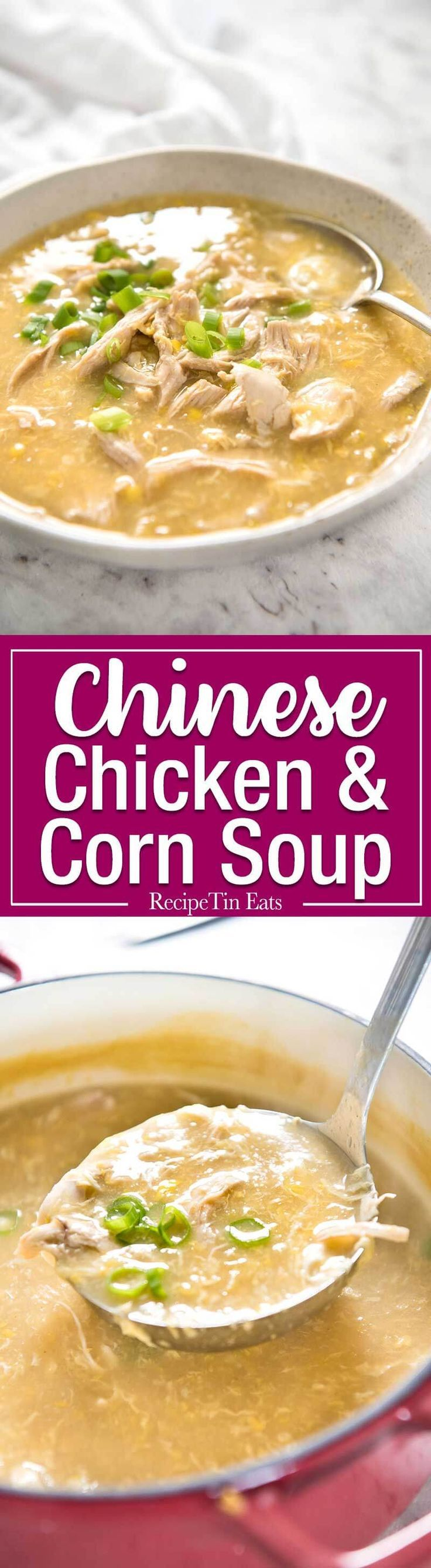 This Chinese Corn Soup with Chicken takes just 15 minutes to make - with no chopping! It's just like what you get at Chinese restaurants! http://www.recipetineats.com