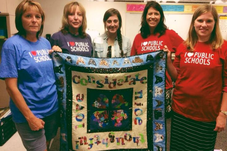 Some of our favorite people, responsible for helping the kids create the CritterKin Kindness Quilt. From left to right: Dana Doran (quilter extraordinaire), Monica Evon (third grade teacher), class assistant, Ann Feldman (Tech specialist for Bellevue Schools) and Brittany Braasch (third grader teacher). Thank you all for helping make this happen!