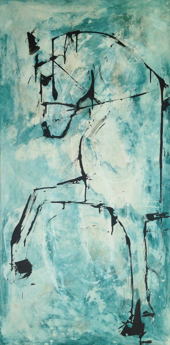 Horse Painting VERY Large 30 x 60 Original Canvas fine by lizwiley