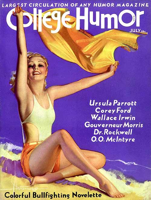 College Humor vintage magazine cover by Rolf Armstrong  beach art