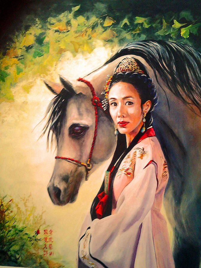 Oriental Princess And Her Horse Painting