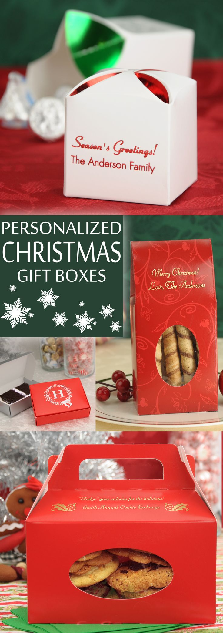 Package your homemade cookies, fudge, caramel corn, and candies in adorably sweet goodie gift boxes personalized with a holiday design and up to 4 lines of custom print to make the perfect gift to family and friends this Christmas. These goodie gift boxes can be ordered at http://myweddingreceptionideas.com/christmas_holiday_favor_boxes.asp