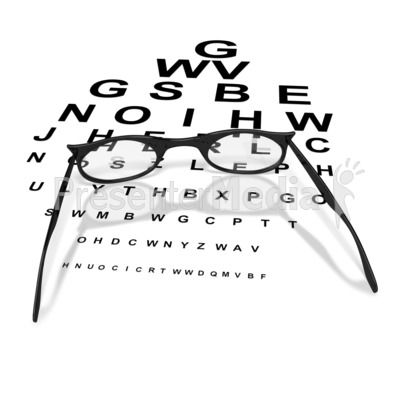 Womens Glasses with Eye Chart  PowerPoint Clip Art