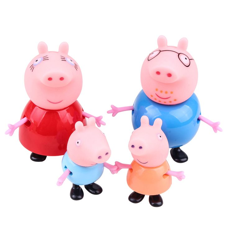 4 piece/lot  Gift box packaging Kids Dolls Toys Pappa Pig Toys Dolls Daddy Mummy Pig George Papa Pig Family Set figurines