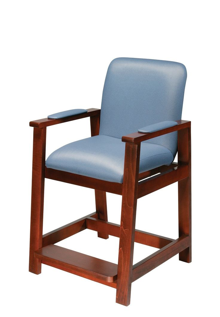 Drive Medical 17100 Wooden Hip High Chair. Drive Medical 17100 Wooden Hip High Chair  Post-hip surgery residents won't be forced to bend at the hip with this hip-high chair by Drive Medical, which provides sitting without having to bend at the hip. Armrests, which are covered in the same soft, attractive vinyl as the seat and backrest, allow you to sit and stand safely. The product is constructed of solid maple hardwood - not a plywood veneer. The fixed footrest adjusts to three...