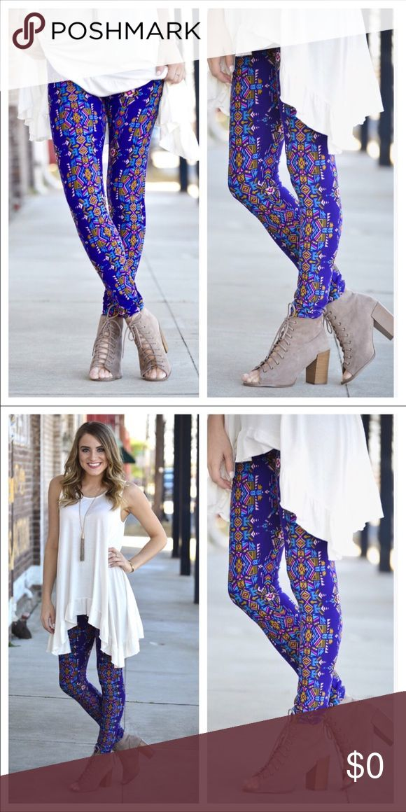 Aztec Print Leggings 92% Polyester 8% Spandex.   ONE SIZE (Fits Size 2-12 Comfortably)   BEAUTIFUL AZTEC PRINT!! DRESS THEM UP OR EVEN AS GYM WEAR‼️🤗🎈🎉 Infinity Raine Pants Leggings