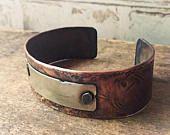 Forged Copper Cuff Bracelet, Wide Copper Cuff Gift for Husband or Boyfriend Gift, Engraved Bracelets Rustic Copper, Anniversary Gift for Men #boyfriendanniversarygifts