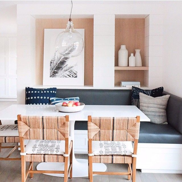 One of our favorite Southern California Designers @amberinteriors uses our Carson Dining Chairs in this airy kitchen dining nook. #designerseries #carsonchair #diningchair  Photo via @dominomag