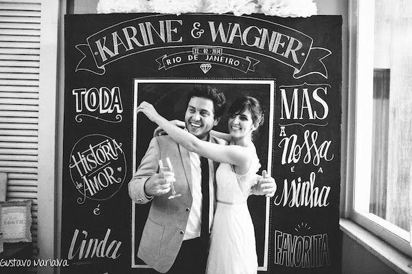 PhotoBooth de quadro negro no casamento da Karine e do Wagner