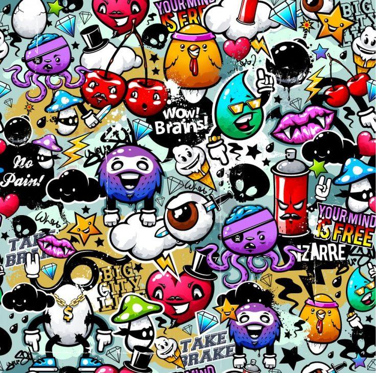 Rengarenk Sevimli Graffiti - Duvar Kağıdı