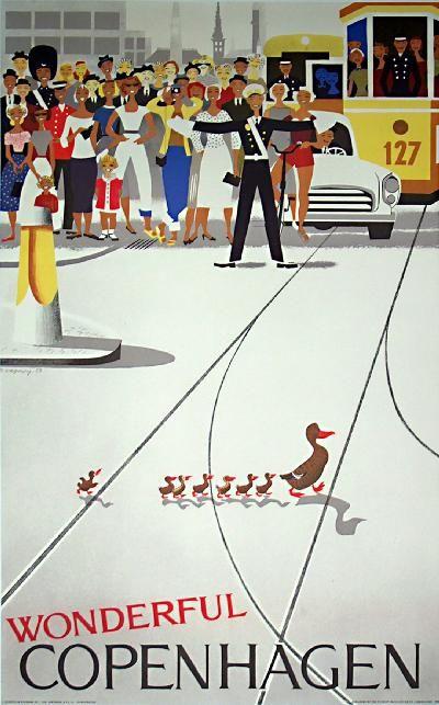 Danish poster, Wonderful Copenhagen by Viggo Vagnby, 1959