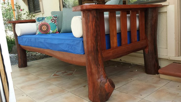 Illusive Wood Designs, recycled hardwood daybed. Indoor / Outdoor. Custom made timber furniture.