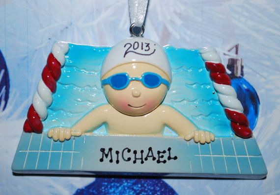 FREE Ornament Gift Bag - Personalized Male Swimmer Christmas Ornament