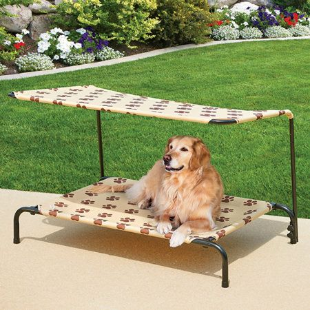 Indoor/Outdoor Dog Bed provides a comfortable napping spot for your pet indoors or out. This elevated dog bed features a sturdy metal frame and breathable fabric cover in your choice of designer colors.