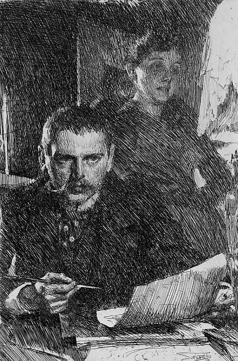 """Anders Zorn - Swedish (1860-1920) """"Zorn & His Wife"""". Etching, 1890."""