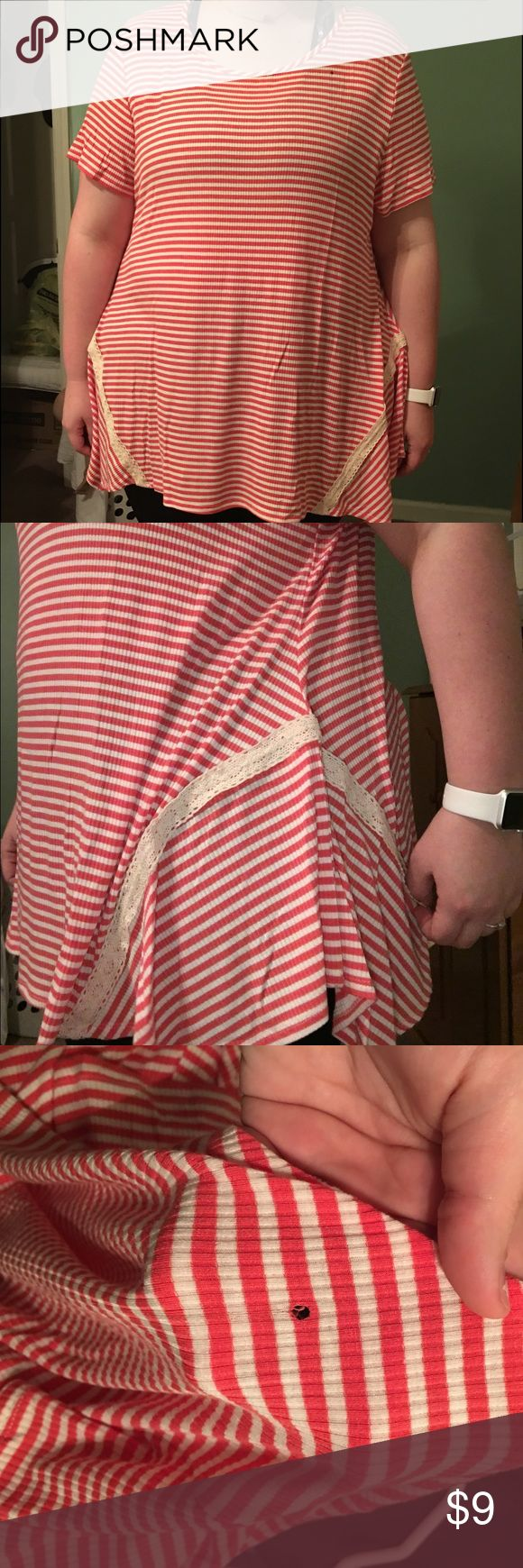 Red and white striped shirt Longer shirt that flows. It does have a small hole in the front but not too noticeable picture is listed Tops Blouses