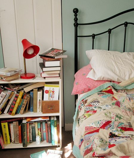 bookcase as nightstand... better than my nightstand with piles of books on top!