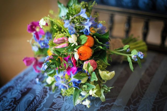The Queensferry Flower Company. A colourful spring bouquet for Linlithgow Burgh Halls.