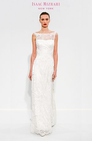 Was: $5,600 NOW: $4,499 Isaac Mizrahi - Bateau Sheath Gown in Beaded Lace