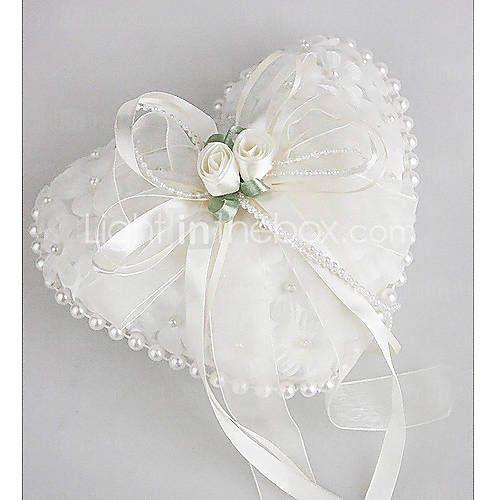 [BRL R$ 36,09] travesseiro do anel de casamento em cetim liso com lindas flores e pérolas