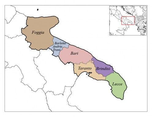 six provinces make up the Puglia or Apulia region on the south east coast of Italy.