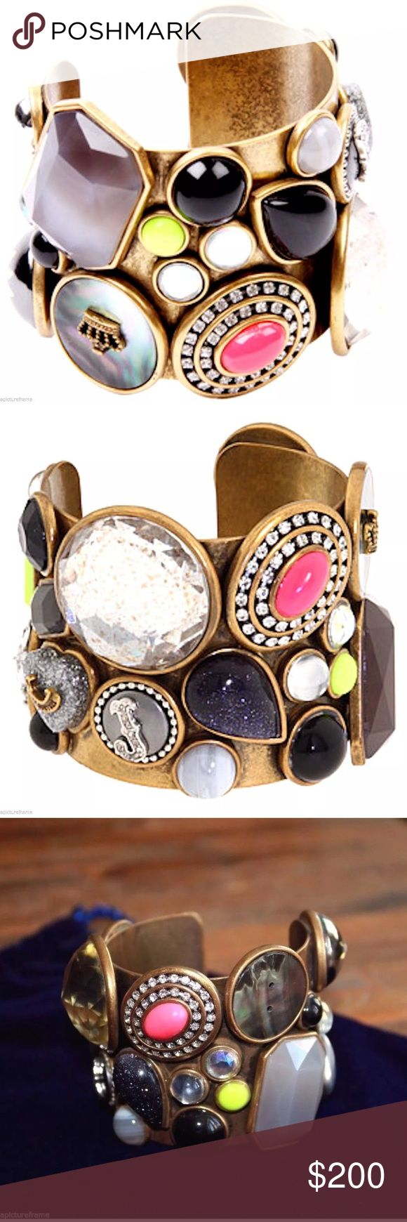 🆕 Juicy Couture Multi Stone/ Charm Cuff Bracelet! Up for sale is a brand new Juicy Couture Multi Stone Brass Cuff Bracelet.  Glamour has a new face with this stunning and bold multi-stone cuff from Juicy Couture. Brass-tone metal with rhinestones and resin cabochon stones in various sizes. All stones are intact.  Retail price: $275  Sold out everywhere! ✨💕 Juicy Couture Jewelry Bracelets