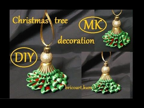 DIY/Christmas tree/Kanzashi tutorial/Christmas decoration/канзаши: bricoart.kam - YouTube