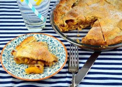 Serving your favorite summer fruit in this peach pie recipe from Genius Kitchen will secure a win at your next BBQ.
