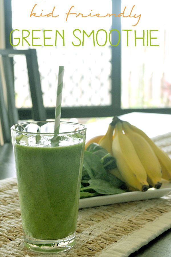 Kid Friendly Green Smoothie Serves: 3-4  Ingredients: •2 cups spinach leaves •1 mango, flesh only •½ pineapple (approx 1 cup), peeled, no core •2 frozen bananas •1 cup cold water •1 cup ice