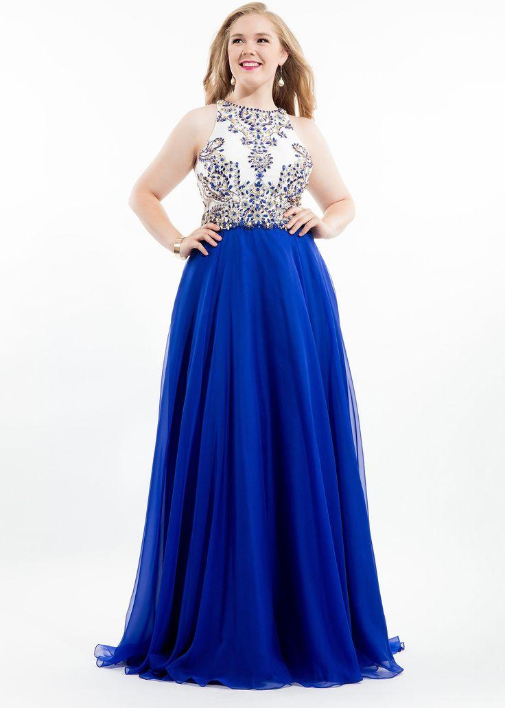 Rachel Allan 7424 Royal Racerback Chiffon Plus Size Dress