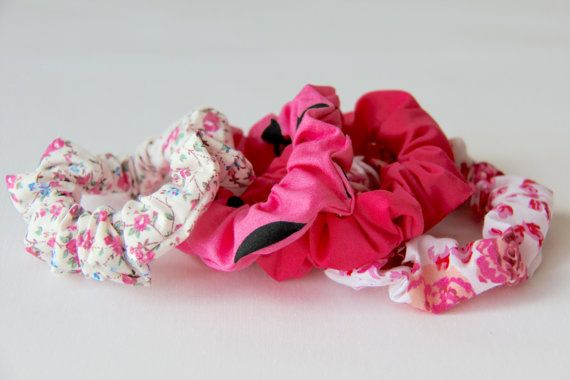 Hot pink hair scrunchies
