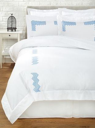 65% OFF Haute Home Embroidered Zig Zag Duvet Set (China Blue)