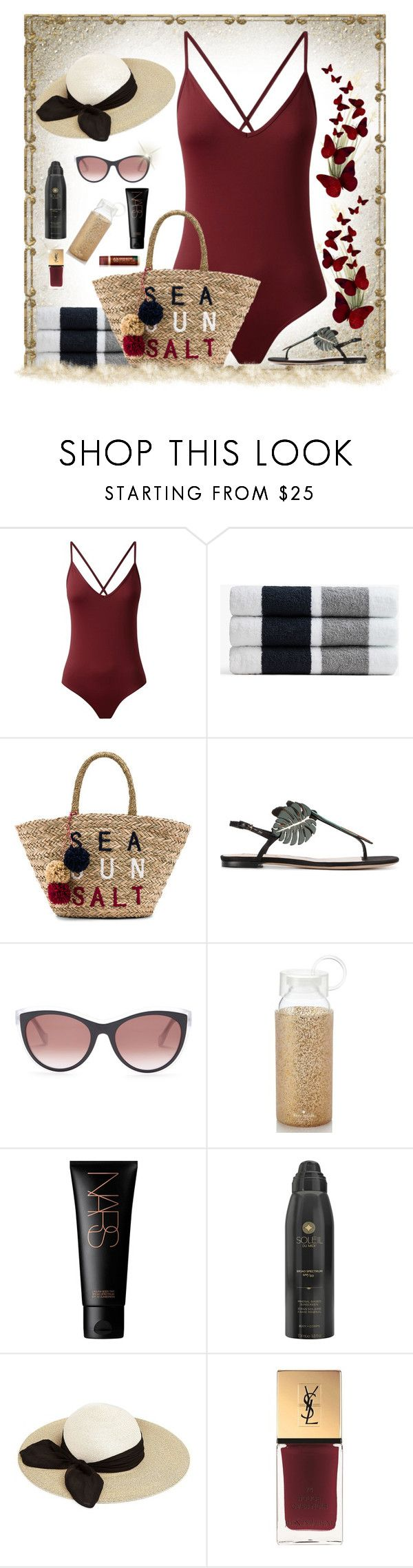 """Beach Bag"" by houston555-396 ❤ liked on Polyvore featuring James Perse, Sundry, Valentino, Balenciaga, Kate Spade, NARS Cosmetics, Soleil Toujours, Eugenia Kim and Yves Saint Laurent"