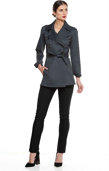 CROSSIAMO BELTED BUTTON TRENCH COAT IN NAVY CHECK PRINT