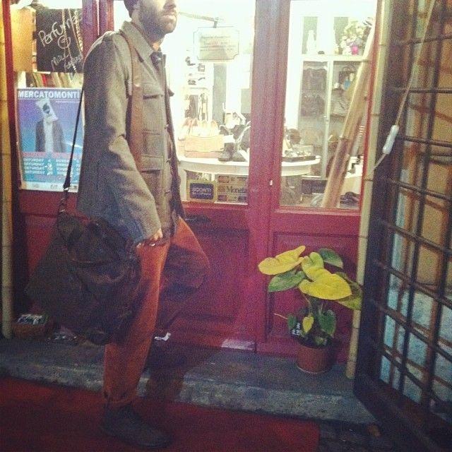 Tourist: trousers #Reds, shoes #Marsell, bag #Akethon, jacket #Mastercoat