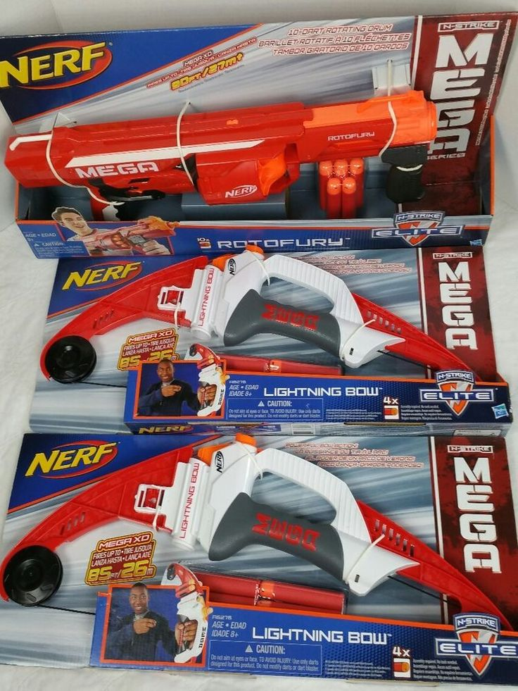 Great deal on nerf guns. Nerf Gun Lot Bundle N-Strike Elite Rotofury (2) Mega Lightening Bow #NERF