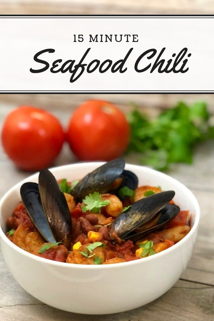 This 15 Minute Seafood Chili Recipe Pressure Cooker Recipe Can Also Be Made In The Instant Pot Seafood Chili Chili Recipes Seafood Chili Recipe