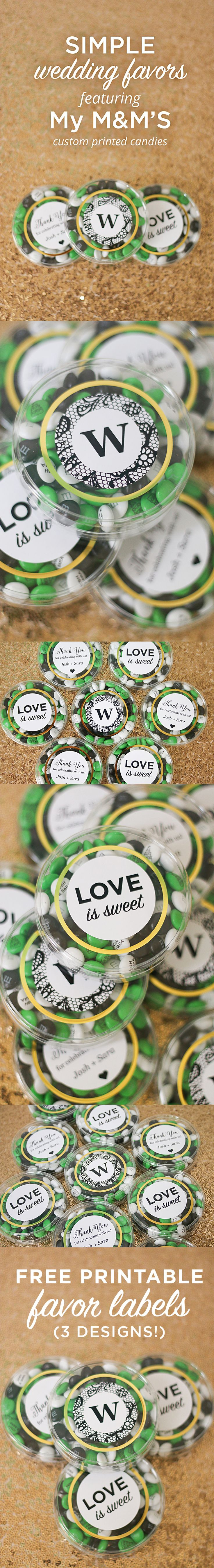 Simple wedding favors featuring @MY M&M'S - download the 3 FREE printable wedding favor labels on the blog! Customizable with Microsoft Word!! :)
