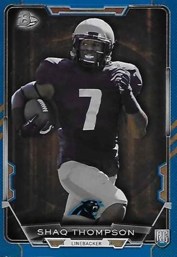 2015 BOWMAN FOOTBALL BLUE RAINBOW ROOKIE SP# 116/499 Shaq Thompson #14 PANTHERS #PANTHERS